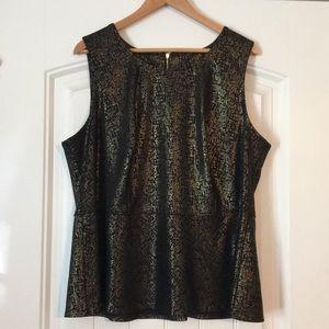 Gold and black peplum sleeveless top